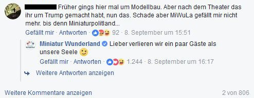 Kommentar unter dem Video des Miniatur Wunderlands bei Facebook.