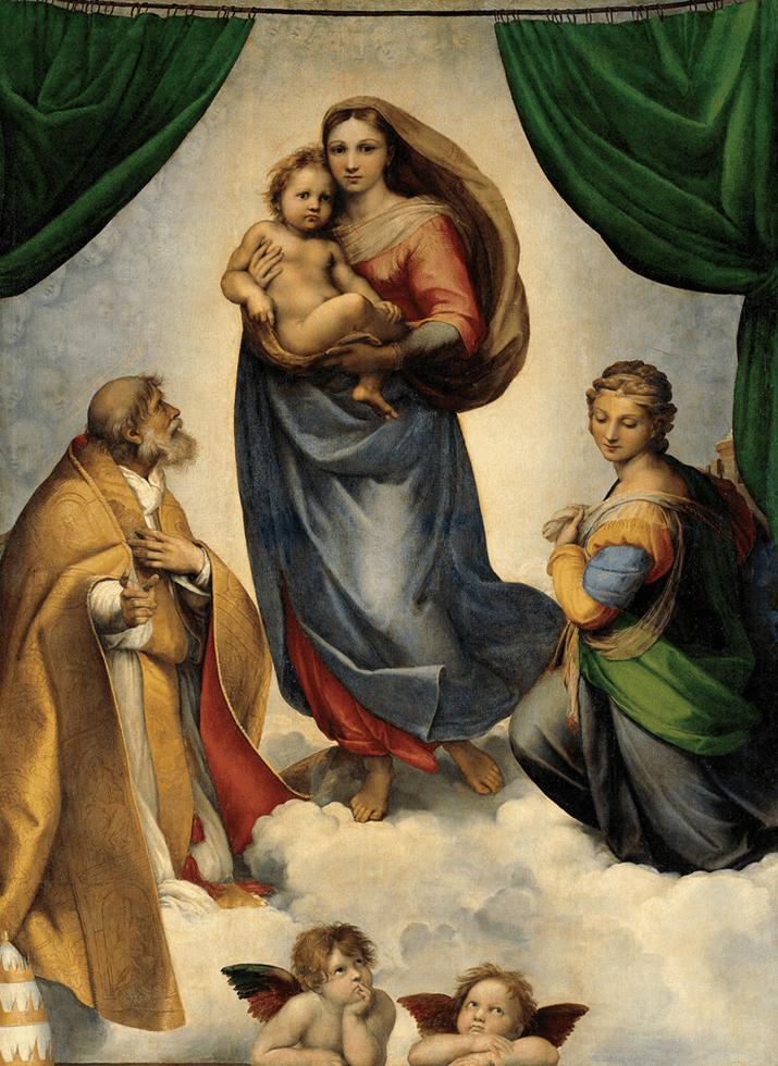Die Engel zu Füßen der Sixtinischen Madonna auf dem Gemälde Rafffaels